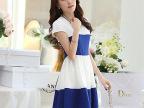 2014新款韩版公主裙撞色裙子圆领短袖修身连衣裙 厂家直销