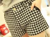 一件代发春款女装韩版大码宽松休闲短裤黑白千鸟格短裤批发送腰带