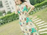 2015夏季新款女装修身波西米亚无袖大码显瘦雪纺连衣裙长裙
