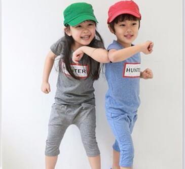 哈伦套装男女童夏季套装短袖T恤运动短裤两件套