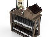 福建乐品红酒架 超市葡萄酒展示架现代简约红酒柜创意钢木陈列柜