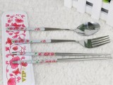 婚庆回礼 婚礼 便携式不锈钢餐具筷子勺子套装礼品  批发