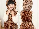童装马甲 2015新春款小童韩版女童豹纹拉链连帽开衫儿童外套批发