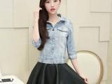 实拍2014韩版女装牛仔衣铆钉水洗做旧浅蓝中袖牛仔短外套
