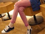 韩国正品原单牛仔 甜美心型做旧修身 糖果玫粉显瘦小脚铅笔牛仔裤
