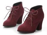 英伦风复古粗跟单鞋新款高跟鞋女真皮大码小码女鞋尖头女靴