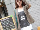 2014秋季新款品牌韩版女装修身小西装女格纹拼接小西服女士外套