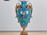 欧式手绘陶瓷镶铜花瓶美式创意花插家居软装饰品别墅客厅玄关摆件