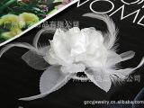供应欧美流行头花 明星时尚头饰 纱布玫瑰带羽毛头花