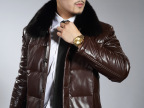 男式皮衣秋冬男士pu皮时尚休闲立领外套羽绒皮衣中长款一件代发