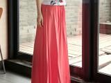 2014夏新款波西米亚人棉裙子半身长裙文艺显瘦半身夏裙纯色大摆裙