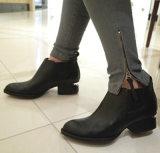 韩版英伦女短靴 亚历山大王马丁靴 中跟裸靴真皮尖头女靴子14爆款