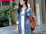 秋季爆款BF风破洞个性牛仔风衣 韩版女式休闲牛仔外套一件代发