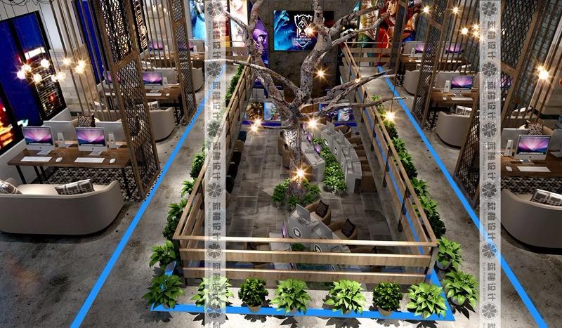 云南网咖装修设计 昆明网吧装修设计 电子竞技馆装修设计效果图