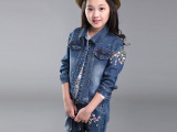 女童牛仔套装春秋2015新款童装中大童绣花长袖两件套儿童秋装套装