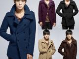 男装2014秋冬潮男外套 男式风衣 中长款呢料韩版修身男士风衣