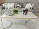 新款天然大理石沙发茶几铁艺客厅办公室泡茶桌小户型家具简约北欧