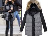 2013欧美冬装新款时尚拼皮连帽加厚千鸟格毛领大衣棉衣羊毛外套女