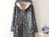 日式森女几何图案羊羔毛连帽长袖棉衣
