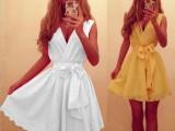 2014ebay热卖派对迷你裙 欧美新款深V无袖雪纺大摆裙752