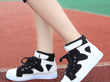 春秋季中帮系带牛仔帆布拼色休闲女鞋平底舒适魔术贴学生韩版单鞋