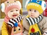 韩国儿童机器人造型帽子围巾两件套男女童宝宝秋冬毛线帽一件代发