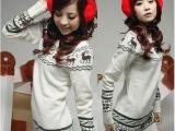 2012韩版新品宽松女装长款小鹿毛衣外套(白色 灰色)