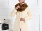 2015冬季新款兔毛纯色中长款皮草外套韩版潮流大气貉子领女装皮草