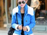 免费加盟14韩版冬装外套小时代3同款羽绒棉服女短款纯色毛领修身