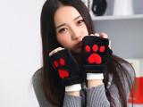 2014新款保暖双层毛绒半指女士手套冬季学生爱心键盘手套
