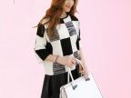 2014秋季大东门新品黑白格子外套套头毛衣女韩版宽松短款针织上衣
