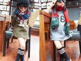 2014女童秋装新款 76数字 字母内抓绒圆领套头卫衣 儿童外套