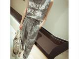 新款女韩版休闲格子套装字母背心+哈伦裤两件套(送腰带)
