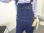 深蓝色 宽松牛仔背带裤长裤508