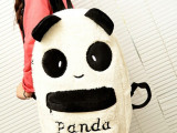 批发 新款冬季热卖毛绒卡通可爱熊猫儿童双肩包小学生书包
