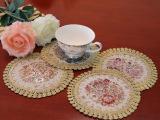 红钰坊欧式古典圆形餐垫布艺花朵杯垫外贸隔
