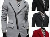 外贸EBAY热卖 新款不规则口袋 斜拉链大翻领毛呢大衣