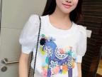 韩国代购春夏新款女装韩版印花女士打底衬衫雪纺衬衣短袖女式t恤