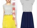 欧美大牌新款撞色连衣裙圆领褶皱雪纺拼接波西米亚沙滩裙