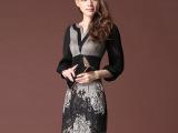 韩版2014春装新款大码女装 ol气质修身显瘦v领 春秋连衣裙长
