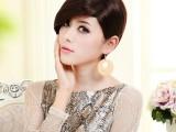 广州斯瑞泰假发批发 新款外贸时尚女士深棕色短直发斜刘海假发套