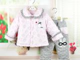 奥婴会女婴儿冬季外出服棉衣棉裤套装衣服女孩宝宝加厚加绒套装服