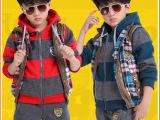 童装秋冬装一件代发韩版中大男童加绒加厚三件套儿童运动卫衣套装