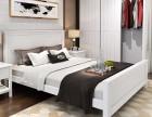 全新白色北欧简约风格实木大双人床1.8米+床头柜2个转让