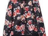 2014春秋新款印花花朵碎花复古飞行员夹克外套欧美花朵棒球服女