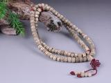 藏式高密度阴皮桶型佛珠手链 干磨顺白星月菩提精选桶珠念珠文玩
