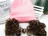 韩国儿童宝宝帽 冬款婴儿毛线帽 新萌款简单带假发帽子MZ027