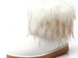 清仓冬季新款短靴内增高女棉靴鞋女士雪地靴子仿狐狸毛一体女靴