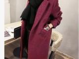 韩国代购女装冬毛呢外套中长款直筒宽松加厚羊毛大衣加棉女士韩范
