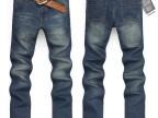 工厂现货供应批发新款男式直筒牛仔裤深色修身韩版青年长裤子1008